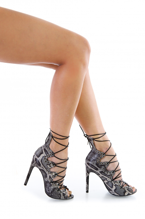 Playing Python Snakeskin Faux Leather Multi Lace Up Open Toe Heels