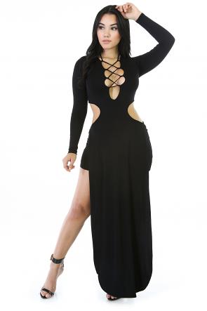 Cutout Double Split Maxi Dress