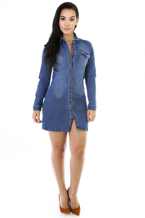 Button Down Tunic Denim Dress