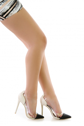 Faux Leather Vinyl Translucent Pumps