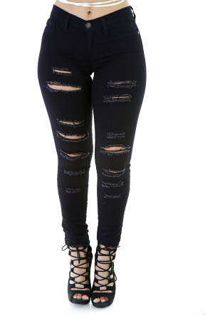 Distressed Curvy Denim Pants