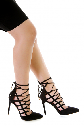 Caged Lace-Up Pump