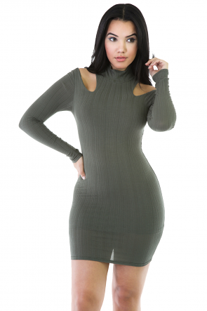 Mock Neck Knit Sweater Dress