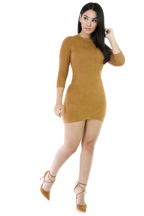 Lesson In Asymmetry Faux Suede Dress