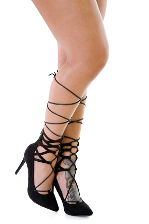 Pointy Faux Suede Laced Heels