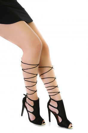 Lace Up Mesh Booties