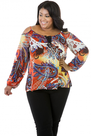 Revealed Shoulder Paisley Top