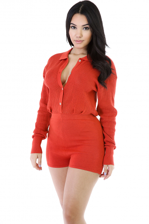 Ribbed Knitted Romper
