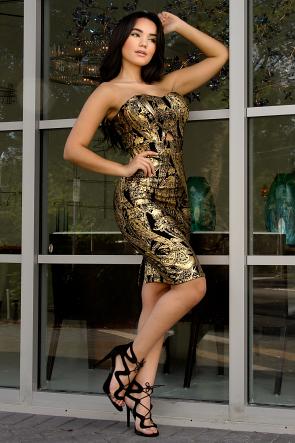 Golden Leaf Girl Dress