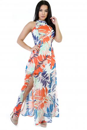 Mix Flower Backless Maxi Dress