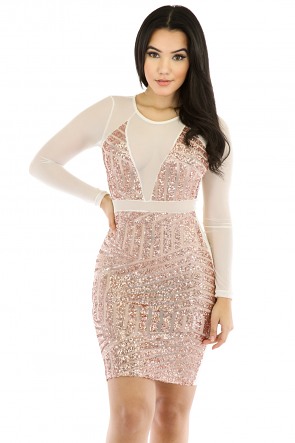 Shine Sequin Mesh Dress