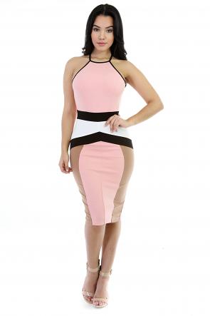 Tri-Color Bodycon Dress