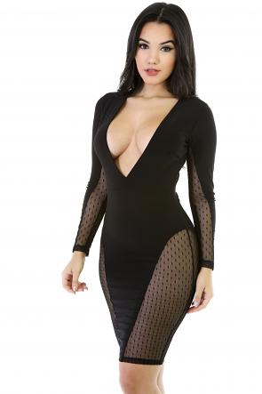 Sexy V-Date Mesh Dress