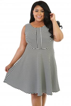 Strip Sleeveless  Flare Dress