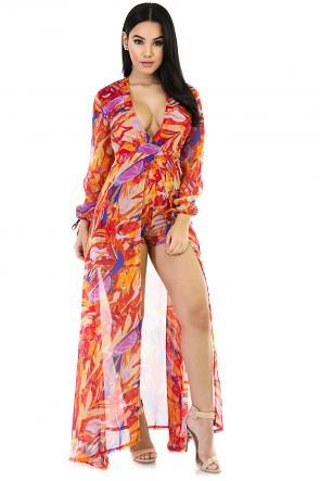 Peach Tie-Dye Maxi Dress