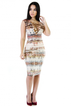 Lace-Up Tribe Bodycon Dress